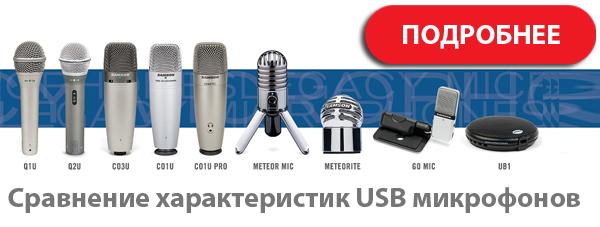 Сравнение характеристик USB микрофонов